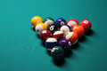 Pool table pool balls a game of ball racked and ready to go Stock Images