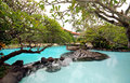 Pool with tropical plants in bali indonesia panoramic view and small fall asian summer resort Stock Images