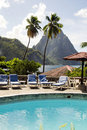 Pool view pitons Caribbean Soufriere S Stock Images