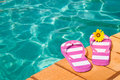Poolside Flip Flops Royalty Free Stock Photos