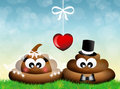 Poop illustration of two in love Stock Photos