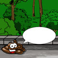 Poop with speech bubble a vector illustrated cartoon smiling pile in the park Stock Photography