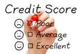 Poor credit score hand putting check mark with red marker on evaluation form Royalty Free Stock Images