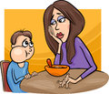 Poor eater boy with mum cartoon illustration of cute his having a meal Stock Photo