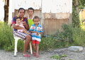 Poor family indonesian mother with kids sorong papua barat indonesia Stock Image
