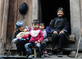 Poor family in the old village in guizhou china lady girl kid a chinese falimy dong Royalty Free Stock Photos