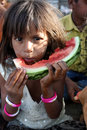Poor Hungry Indian Girl Royalty Free Stock Photography