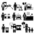 Poor low class jobs occupations careers a set of human pictograms representing the and professions of people in the lower industry Royalty Free Stock Image