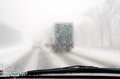 Poor visibility windshield snow storm Stock Image