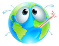 Poorly globe concept of a with a fever sweating and bursting a thermometer could be a for global warming Royalty Free Stock Photos