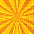Pop art abstract background with orange sunbeams and halftone dots. Vector illustration
