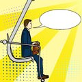 Pop art background, businessman on the career ladder. A man climbs an excavator. A comic style, an imitation text bubble