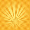 Pop art background rays of the sun are orange and yellow. Royalty Free Stock Photo