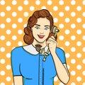 Pop art background. Retro girl, brunette talking on old phone. Comic style, vector