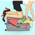 Pop art background.Tema travel and female gathering. Things that do not fit into the suitcase. Raster