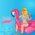 Pop Art Beautiful Blonde Woman Swimming in the Pool at the Pink Flamingo Mattress. Glamorous Girl in Bikini on Vacation Royalty Free Stock Photo