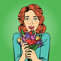 Pop art Beautiful Woman with Bunch of Flowers Royalty Free Stock Photo
