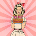 Pop Art Beautiful Woman Holding a Plate with Happy Birthday Cake with Candles Royalty Free Stock Photo