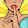 Pop art beautiful woman put her finger to her lips, calling for silence Royalty Free Stock Photo