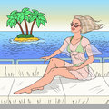 Pop Art Beautiful Woman Relaxing on Yacht Cruise. Beach Vacation
