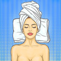 Pop art beautiful woman in spa environment