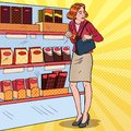 Pop Art Beautiful Woman Stealing Food in Supermarket. Shoplifting Kleptomania Concept