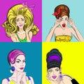 Pop Art Beautiful Women Square Concept