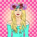 Pop art beautiful and young girl, blonde. Wreath on head with bouquet of flowers. Comic book style imitation
