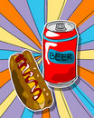 Pop art beer and hot dog Royalty Free Stock Photo