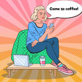 Pop Art Blonde Woman with Coffee and Smartphone in a Cafe Royalty Free Stock Photo