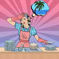 Pop Art Bored Woman Washing Dishes and Dreaming about Tropical Vacation Royalty Free Stock Photo