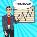 Pop Art Business Man Pointing Growth Graph. Business Presentation Royalty Free Stock Photo