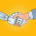 Pop Art Business Robot and Human Handshake. Intelligence Technology Royalty Free Stock Photo