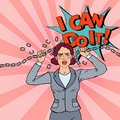 Pop Art Business Woman Breaking Metal Chain. Strong Woman Royalty Free Stock Photo
