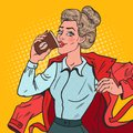 Pop Art Business Woman Late at Work. Busy Girl with Morning Coffee Royalty Free Stock Photo