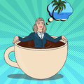 Pop Art Business Woman Relaxing in Coffee Cup and Dreaming about Tropical Vacation. Work Break Royalty Free Stock Photo