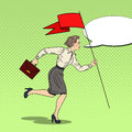 Pop Art Business Woman Running with Red Flag to Success Royalty Free Stock Photo