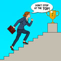 Pop Art Business Woman Walking Up Stairs to Golden Cup