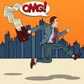 Pop Art Businessman with Briefcase Running to Work through the City