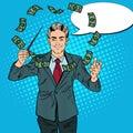 Pop Art Businessman Conducts Money with a Baton