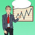 Pop Art Businessman Pointing Growth Graph. Business Presentation Royalty Free Stock Photo