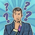 Pop art businessman skeptical facial expressions face with question marks