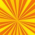 Pop art cartoon retro blast, sunburst vector background with halftone dotted texture Royalty Free Stock Photo