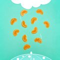 The pop art collage of fresh Tangerine wedges and abstract drawing rain cloud and raindrops falling Royalty Free Stock Photo