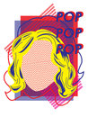 Pop art colorful graphic of woman face Royalty Free Stock Photos