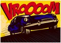 Pop art comic book car at speed with vrooom onomatopoeia vector illustration Royalty Free Stock Photo