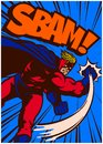 Pop art comic book superhero in action punching and fighting vector illustration