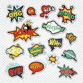 Pop Art Comic Speech Bubbles with Funny Text. Chat, Communication Stickers, Badges and Patches Royalty Free Stock Photo