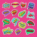 Pop Art Comic Speech Bubbles Set with Funny Text. Chat, Communication Stickers, Badges and Patches Royalty Free Stock Photo