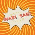 Pop Art comics icon on an orange background: Wabi - Sabi.